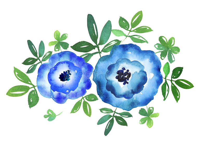 Simple blue flower hand drawn watercolor illustration. stock illustration