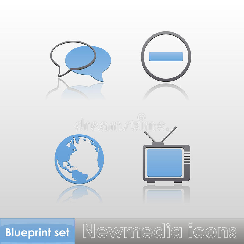 Free Simple Blue-grey New Media (globe, Tv, Stop Sign, Talk) Icons With Reflection Isolated On Neutral Background. Vector Royalty Free Stock Photo - 35097545