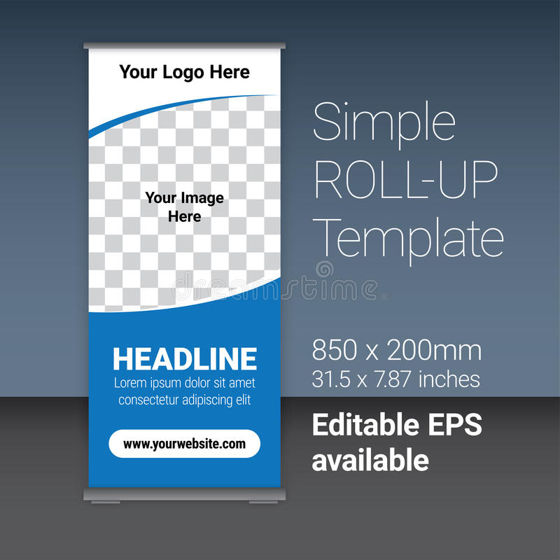 Simple Blue Roll-up Template Vector. Simple blue roll-up template for your business, with editable EPS vector file as additional format vector illustration