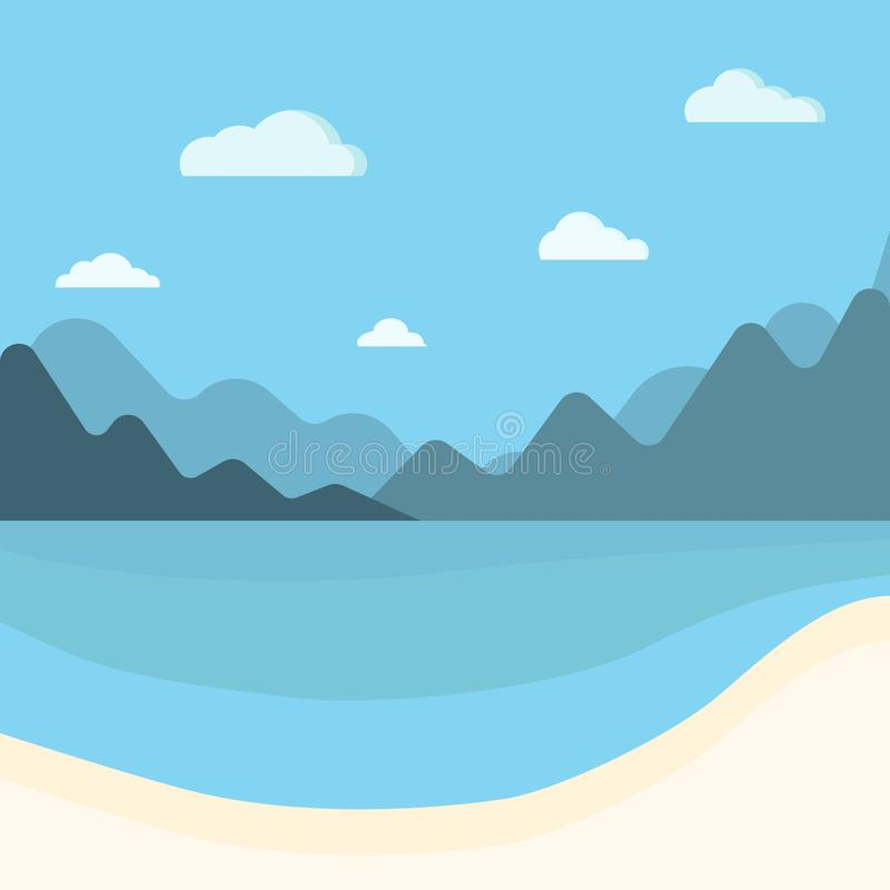 Simple blue sea, mountains and sand beach summer background royalty free illustration