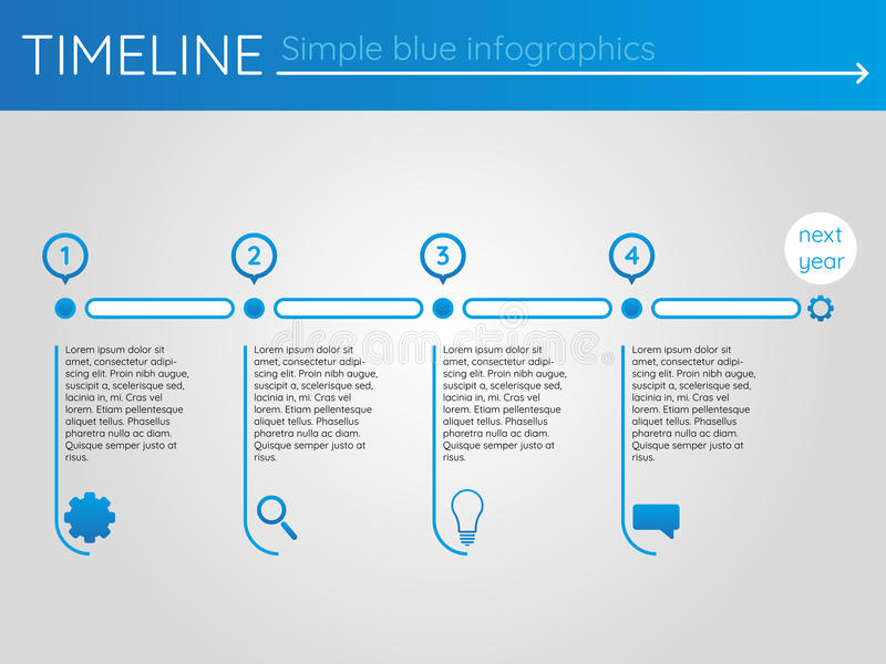 Simple blue timeline 14, infographics vector royalty free illustration