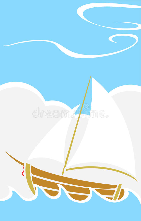 Download Simple Boat at Sea stock vector. Image of ocean, journey - 10962275