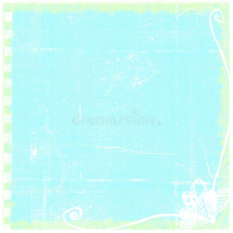 Simple Bordered Blue Worn Folded Grunge Paper Background stock illustration