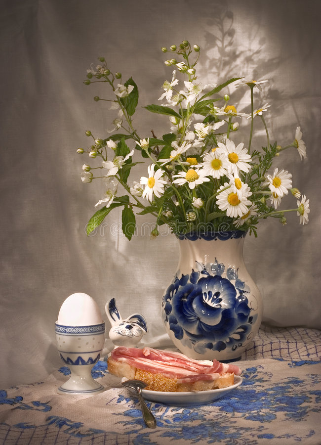 Download Simple Breakfast (3)  With Daisies Stock Photo - Image of morning, cloth: 225186