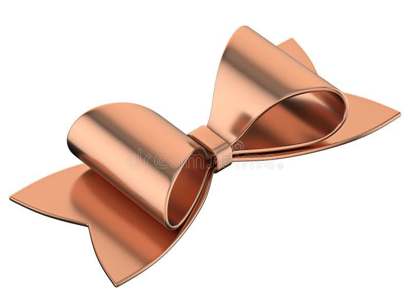 Simple bronze ribbon bow 3D stock photo