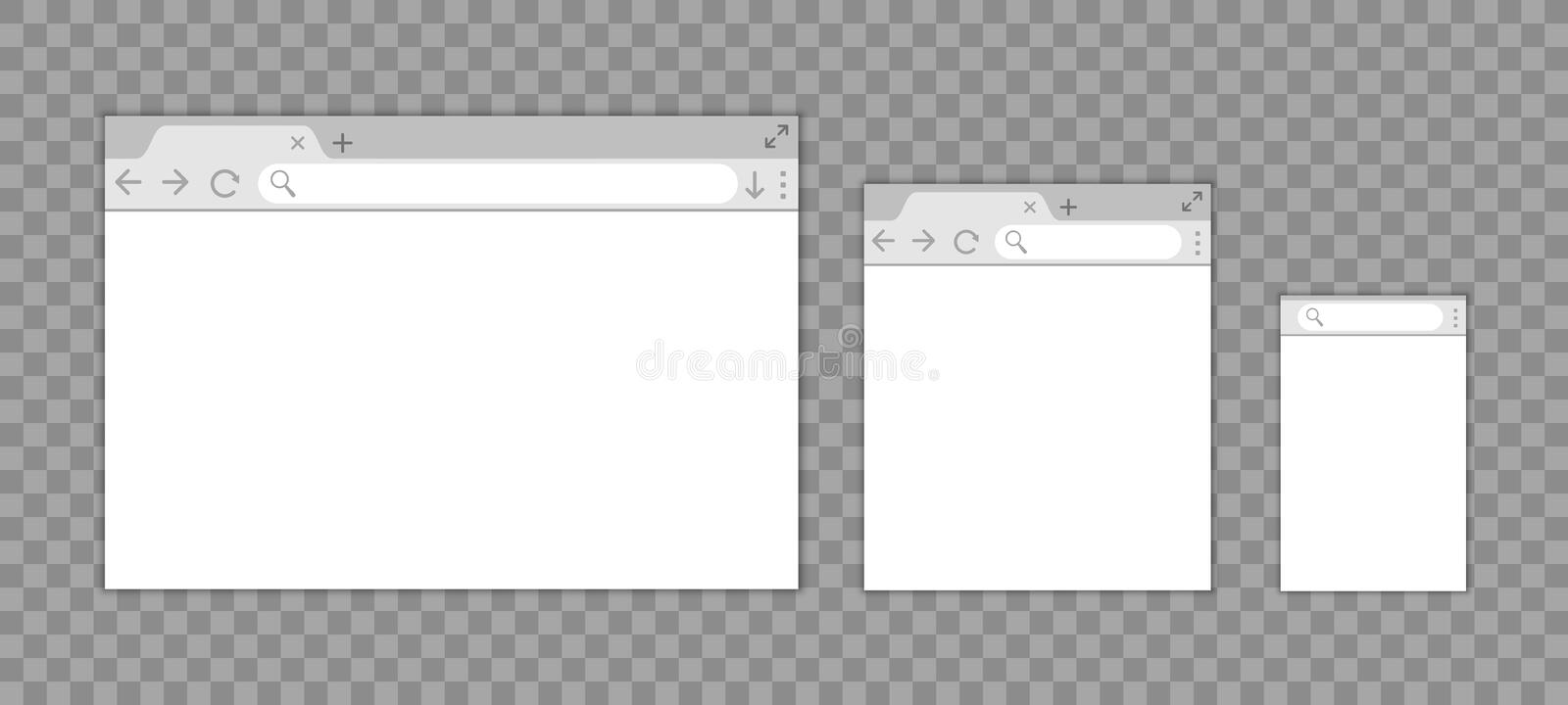 Simple browser window in a flat style, design a simple blank web page, search in internet, template browser window on computer vector illustration