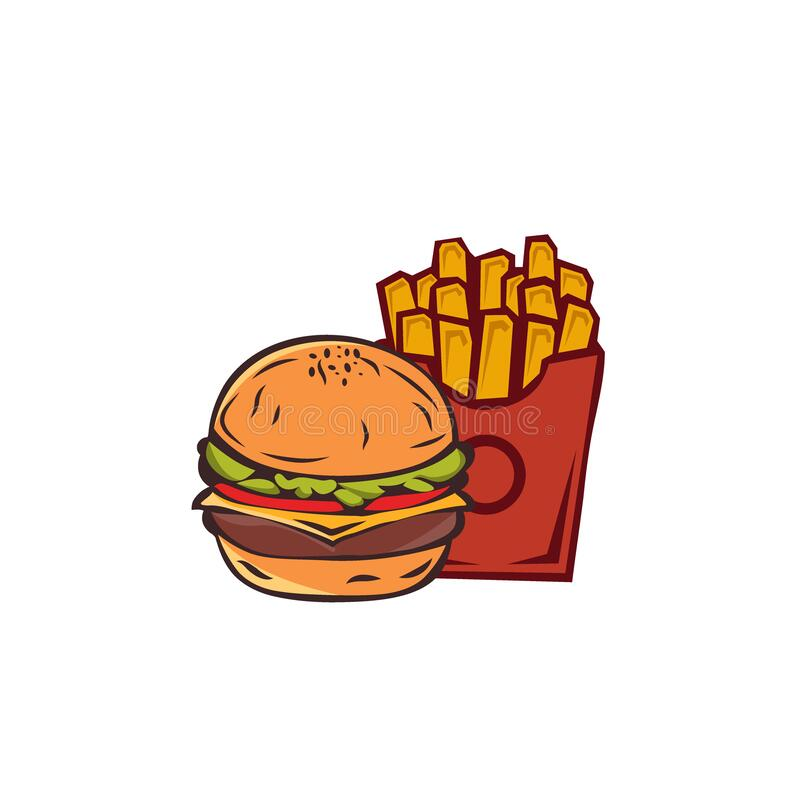 Fast food icon, burger icon and French Fries. vector illustration EPS 10. Simple Burger Set. Burger with Cheese,French Fries. 2D Flat Style Graphic design stock illustration