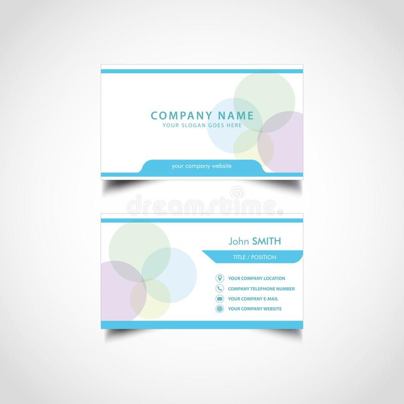 Simple Blue and White Business Card Template. Simple Business Card Template, Vector, Illustration, Eps File stock illustration