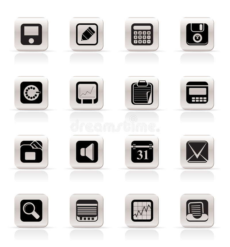 Simple Business, Office and Finance Icons stock illustration