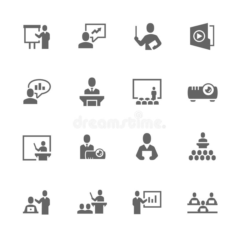 Simple Business Presentation Icons stock illustration
