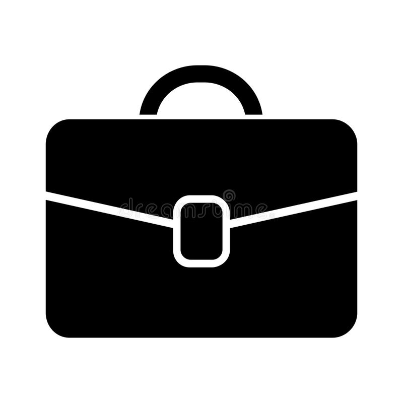 Simple business suitcase/briefcase icon. Black silhouette. Isolated on white vector illustration