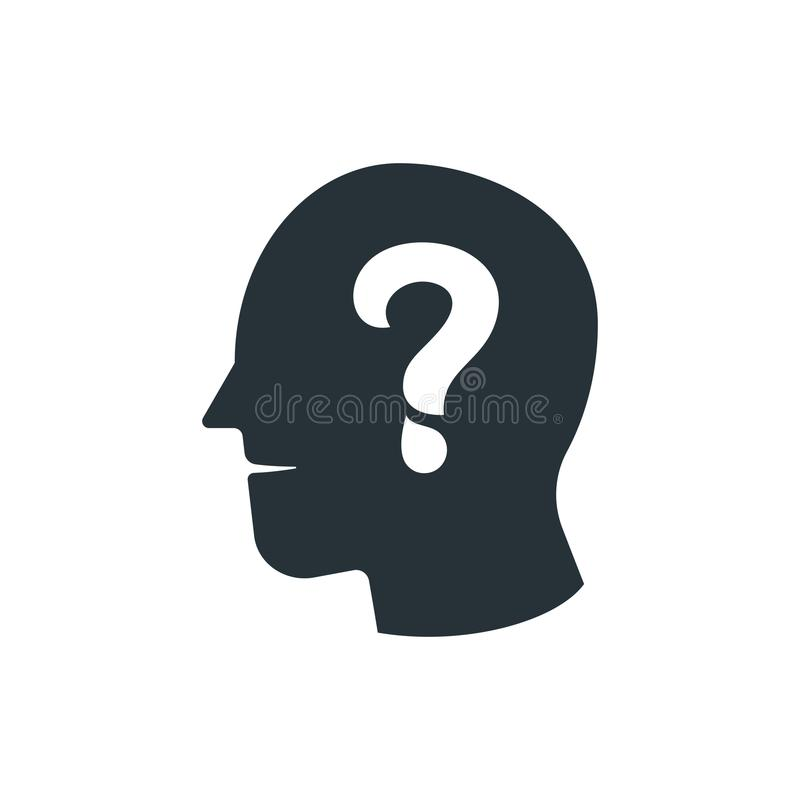 simple business vector of question mark human head icon design t