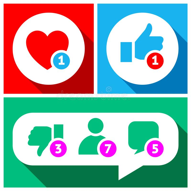 Simple buttons with user feedback for social net. Work stock illustration