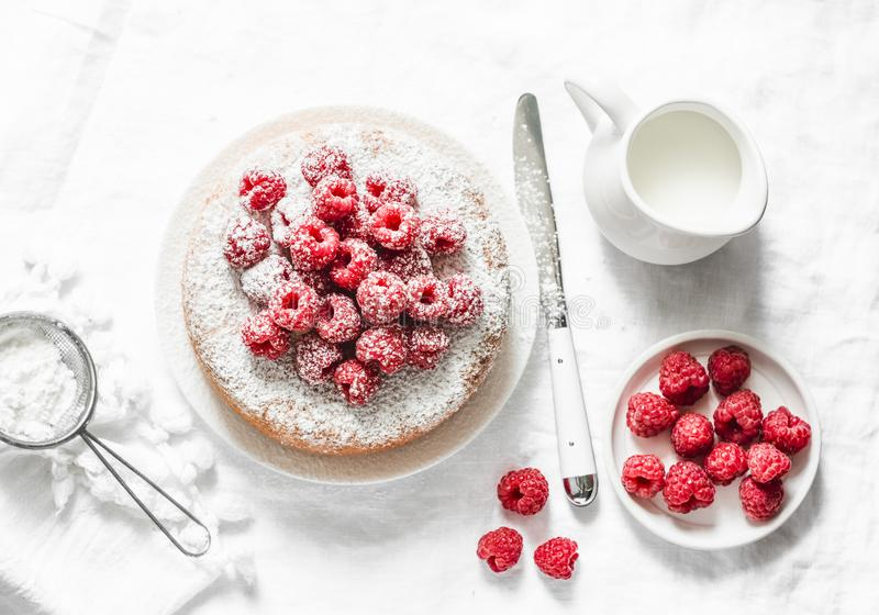 Simple cake with powdered sugar and fresh raspberries on a light background. Summer berry dessert. royalty free stock images
