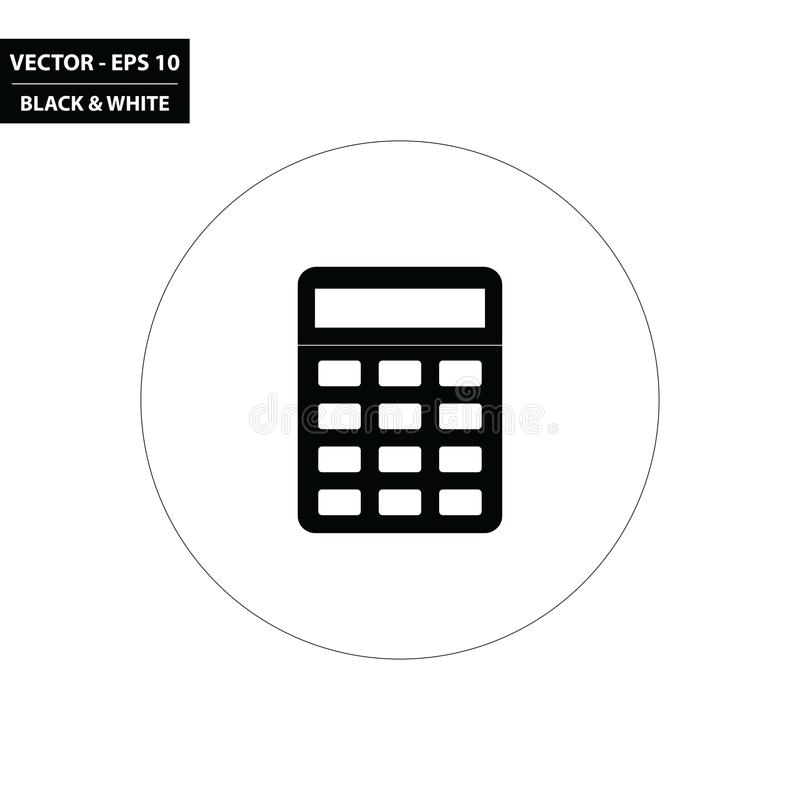 Simple calculator black and white flat icon royalty free illustration
