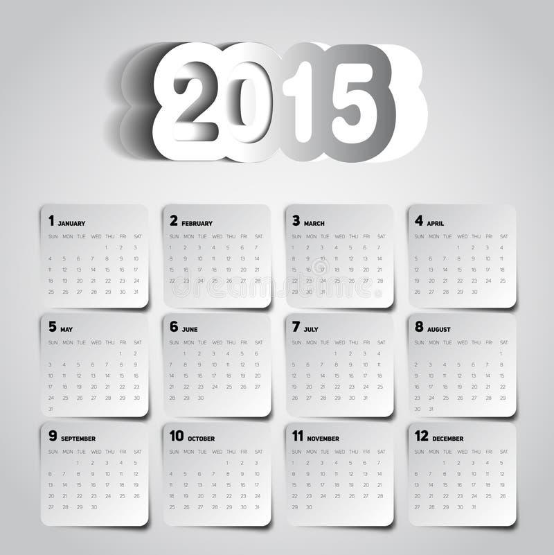 monday through sunday calendar 2015