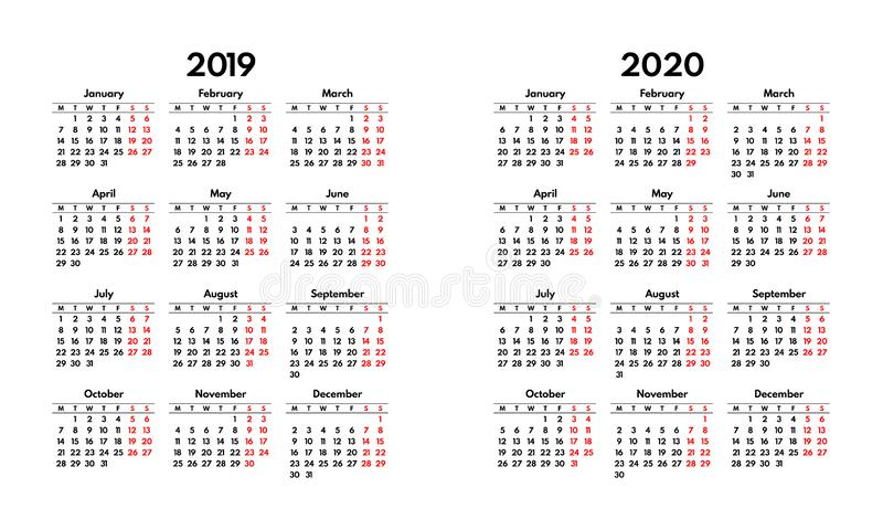 Simple 2019 2020 calendar grid, starts monday stock images