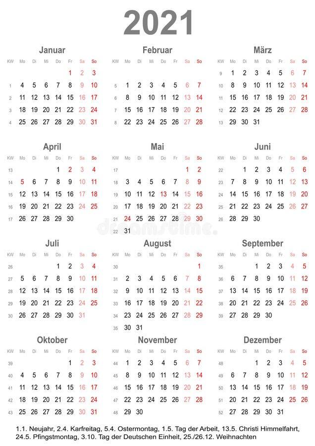 Calendar Germany 2021