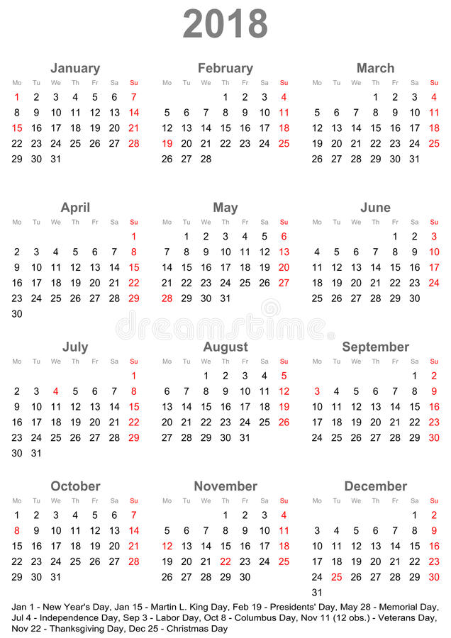 download simple calendar 2018 with public holidays for usa stock vector illustration of simple