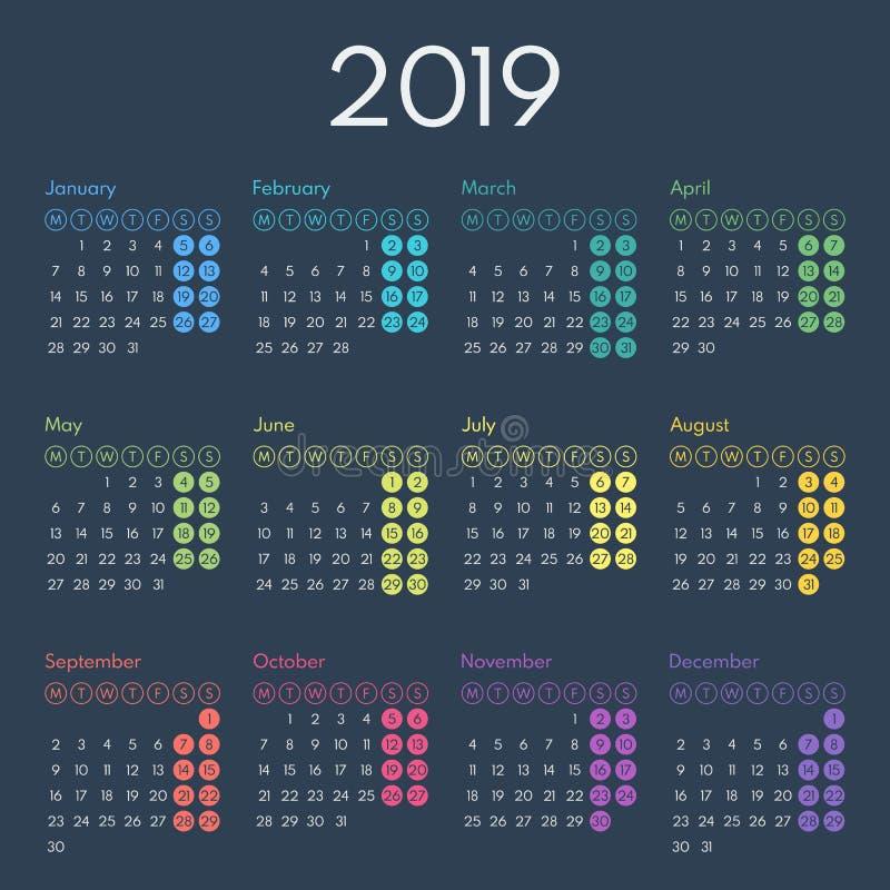 Simple calendar 2019, starts monday stock photo