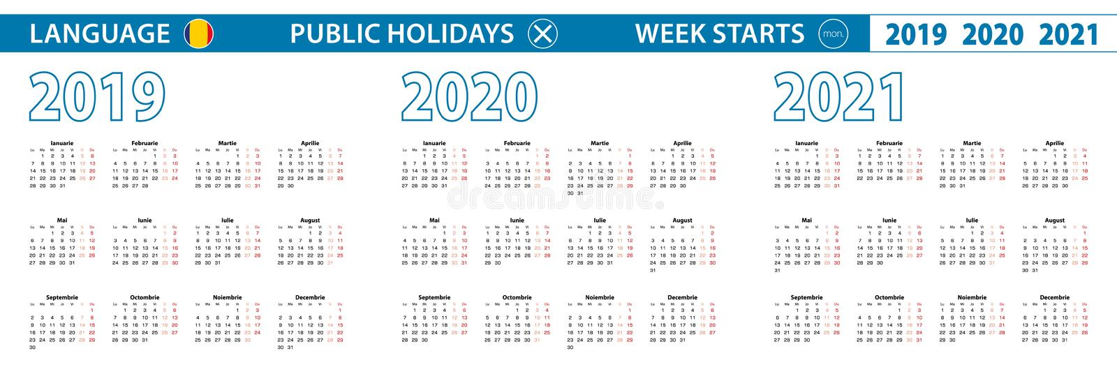 Simple calendar template in Romanian for 2019, 2020, 2021 years. Week starts from Monday. Vector illustration stock illustration