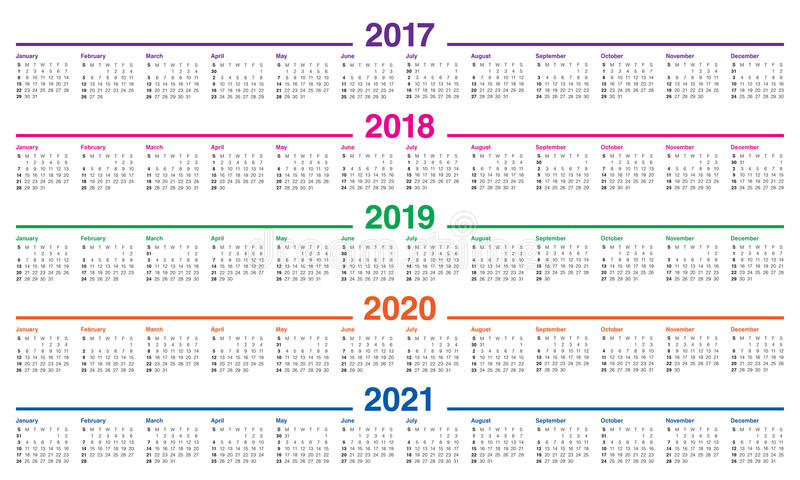 Simple Calendar template for 2017 to 2021. Simple Calendar template for 2017, 2018, 2019, 2020 and 2021 vector illustration