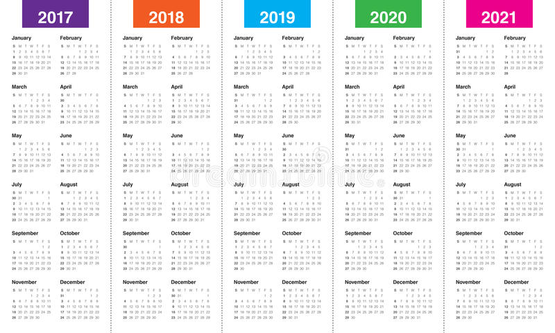 Simple Calendar Template For 2017 To 2021 Stock Vector ...