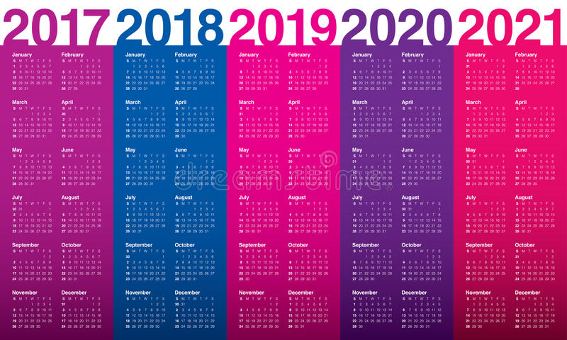 Simple Calendar template for 2017 to 2021. Simple Calendar template for 2017, 2018, 2019, 2020 and 2021 royalty free illustration