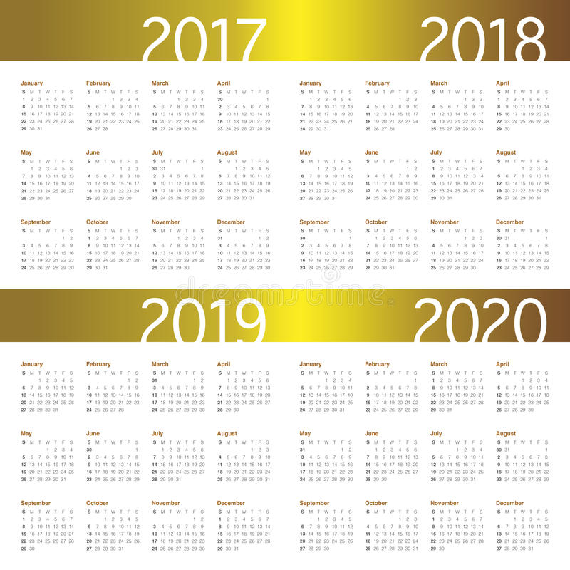 Simple Calendar Template For 2017 To 2020 Stock Vector