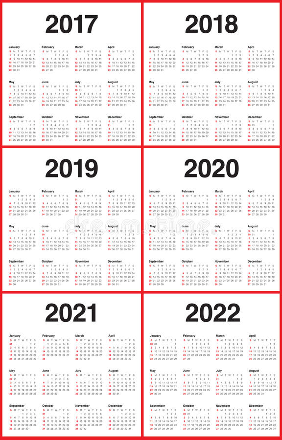Simple Calendar Template For 2017 To 2022 Stock Vector ...