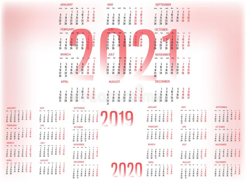 Simple Calendar template for 2019, 2020 and 2021. Week starts from Monday. royalty free illustration