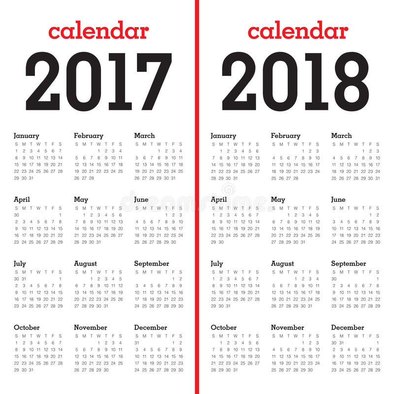 Simple Calendar template for 2017 and 2018. Simple Calendar template for year 2017 and year 2018 vector illustration