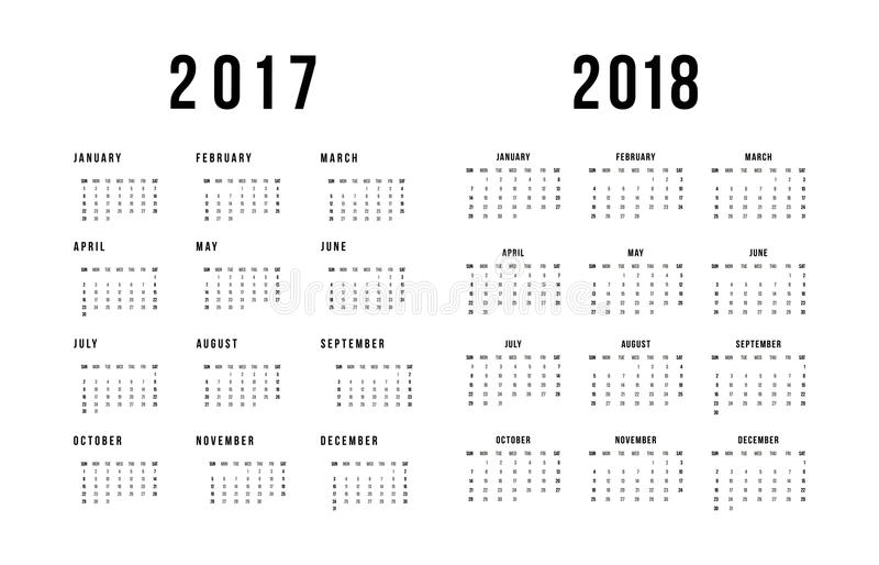 Simple calendar for 2017 and 2018 On White Background vector illustration