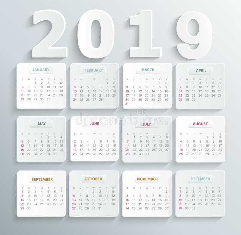 Simple calendar for 2019 year. royalty free illustration