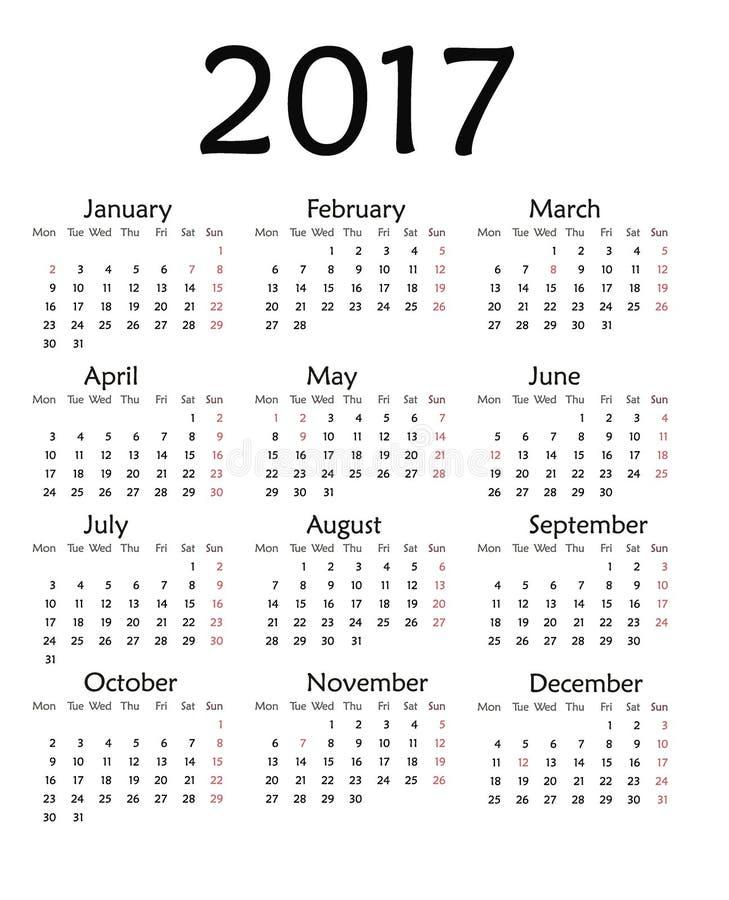 Calendar Organization Number : Simple calendar for year stock illustration image