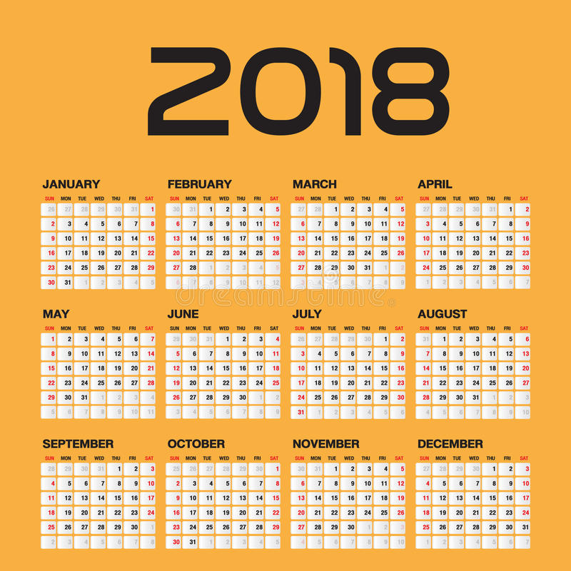 Simple Calendar For 2018 Year Stock Vector Image 77501731