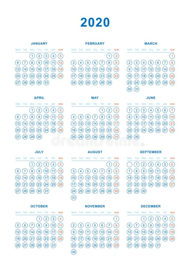 Simple Calendar 2020 year. Week starts from Sunday. Flat vector illustration EPS10. Organizer, monthly, number, element, design, color, isolated, template royalty free illustration