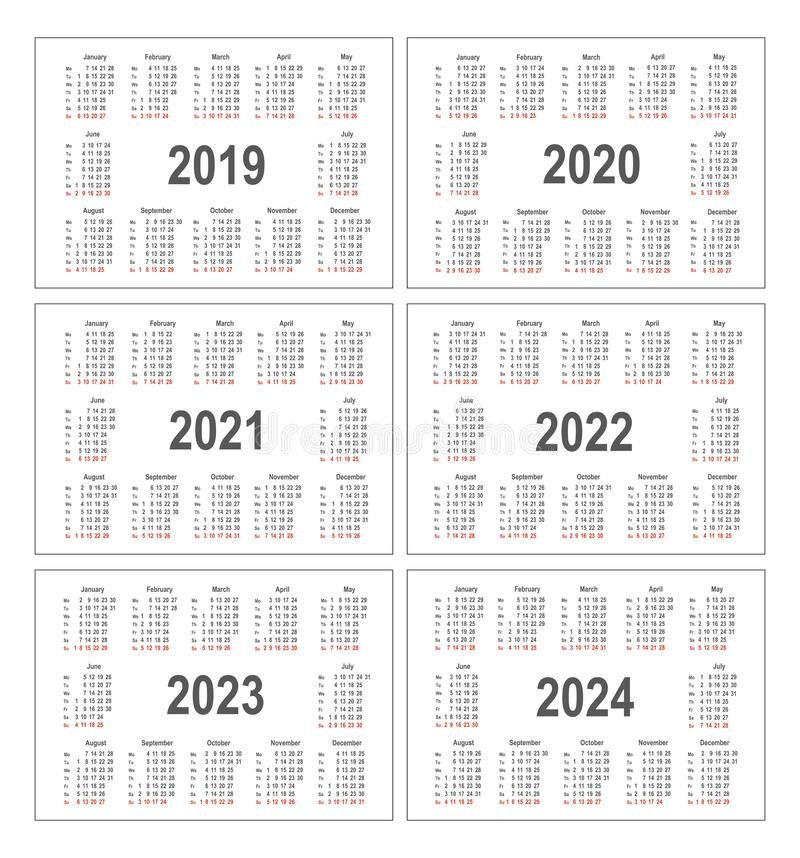 Simple calendar for 2019, 2020, 2021, 2022, 2023 and 2024 years. Pocket horizontal calendars. Week starts from Monday vector illustration