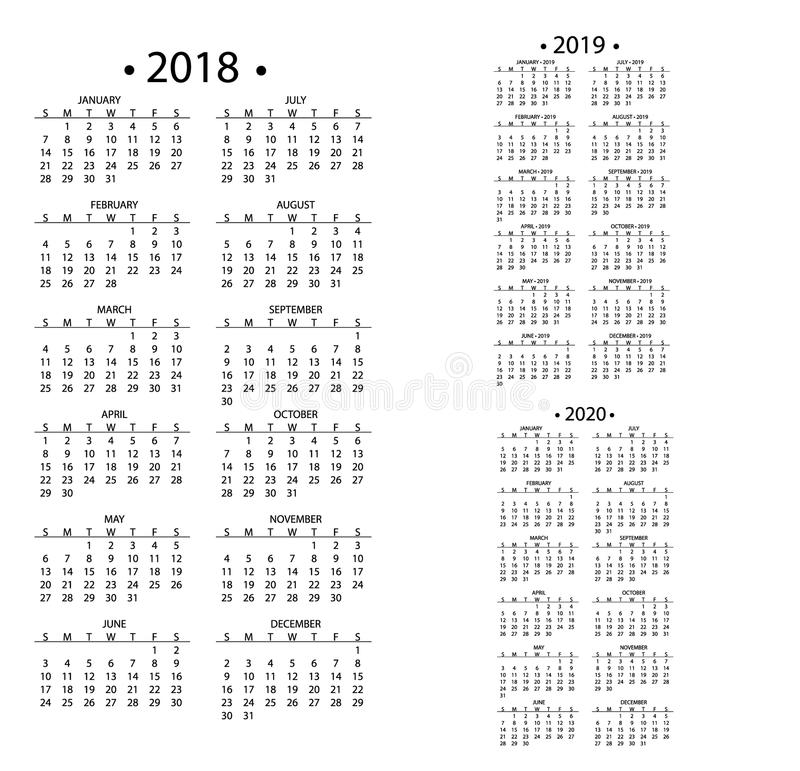Simple calendar for 2018 and 2019, 2020 years template date day design month business organizer planner vector. Illustration. Calender annual schedule diary stock illustration
