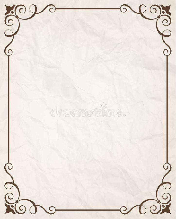Simple Calligraphic Frame With Wrinkled Paper Texture. Vector illustration. Saved in EPS 10 file with 1 transparent object. Well constructed for easy editing stock illustration