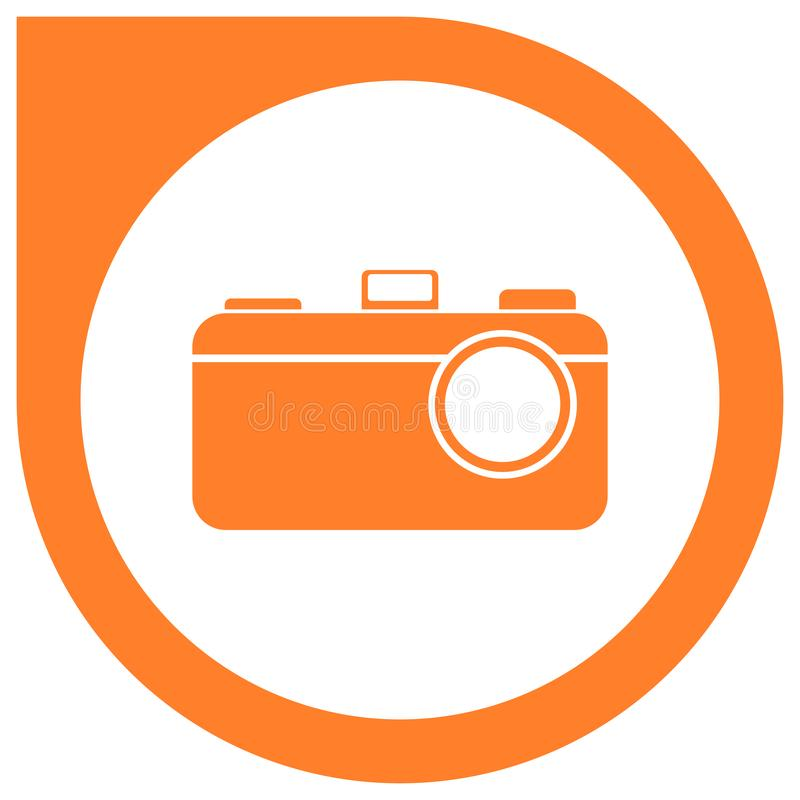 Simple camera logo - orange vector illustration