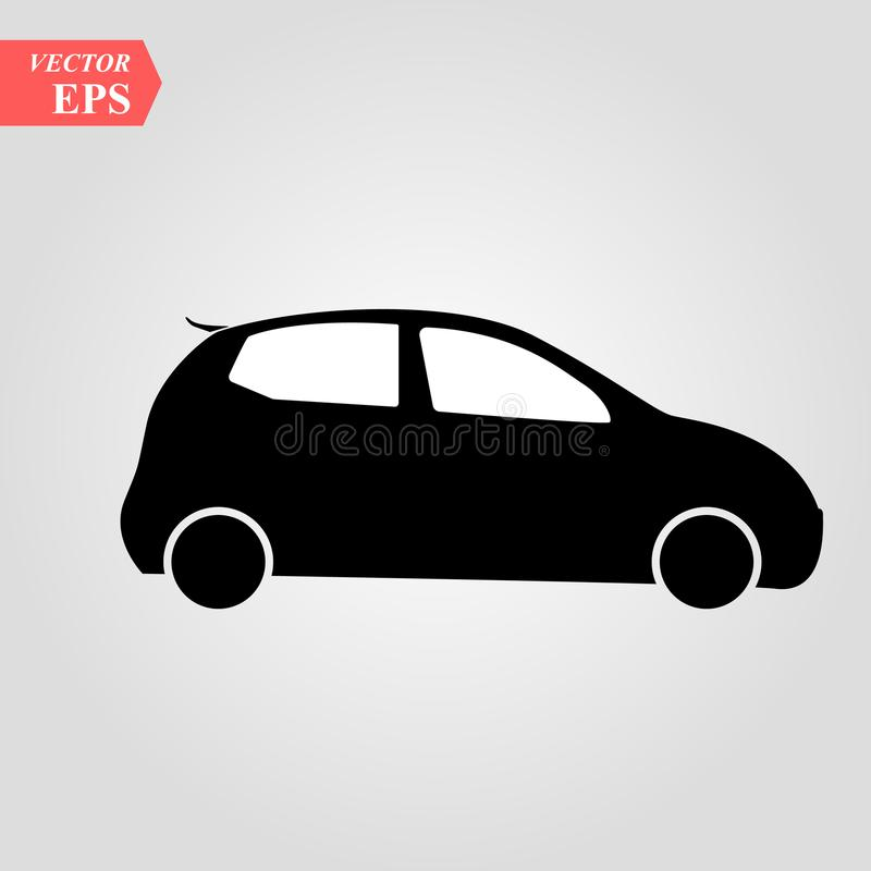 Simple Car Icon Vector. Flat Hatchback symbol. Perfect Black pictogram illustration on white background. Eps 10 vector illustration