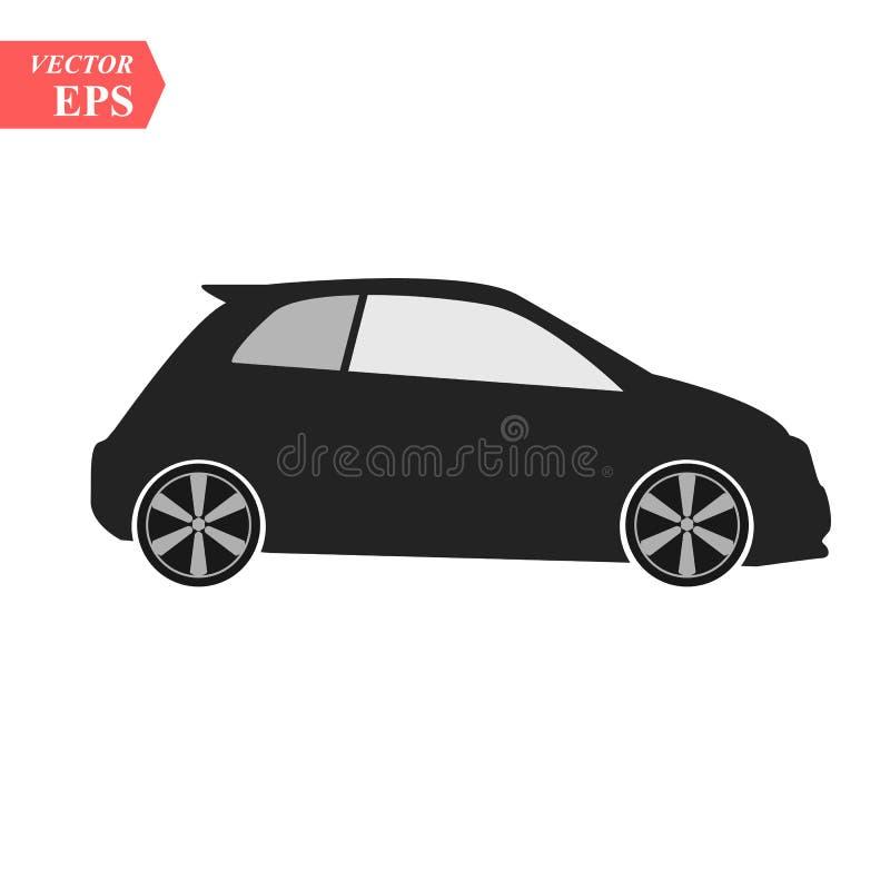 Simple Car Icon Vector. Flat Hatchback symbol. Perfect Black pictogram illustration on white background. Eps10 vector illustration