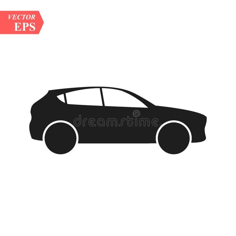 Simple Car Icon Vector. Flat Hatchback symbol. Perfect Black pictogram illustration on white background. eps10. Simple Car Icon Vector. Flat Hatchback symbol royalty free illustration