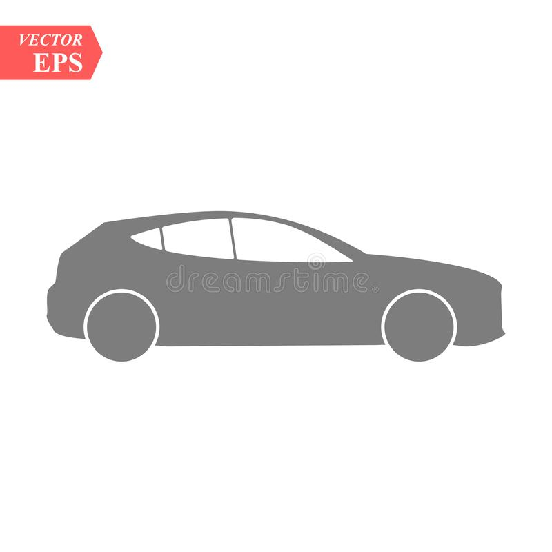 Simple Car Icon Vector. Flat Hatchback symbol. Perfect Black pictogram illustration on white background. eps10. Simple Car Icon Vector. Flat Hatchback symbol stock illustration
