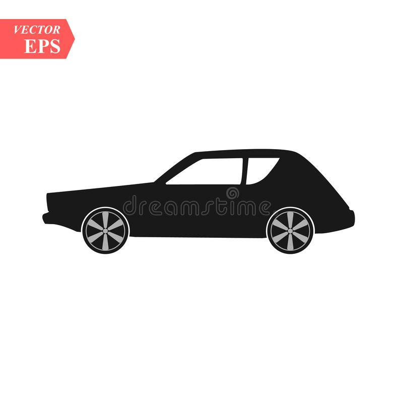 Simple Car Icon Vector. Flat Hatchback symbol. Perfect Black pictogram illustration on white background. Eps10 stock illustration