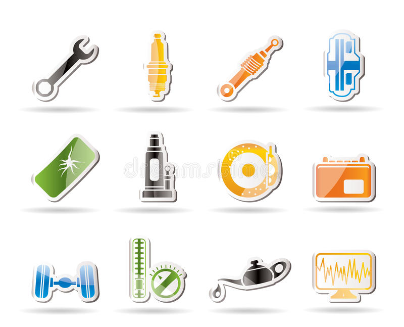 Simple car parts and services icons royalty free stock for Simple car parts