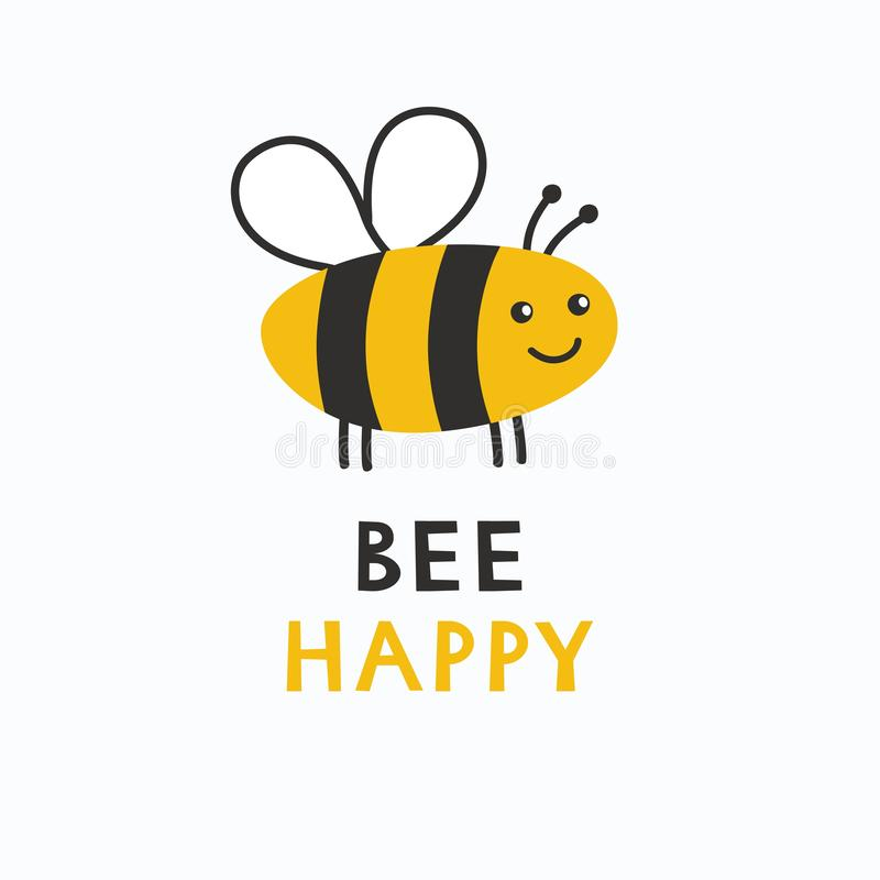 Simple card Bee Happy. Cartoon cute poster Be Happy. stock illustration