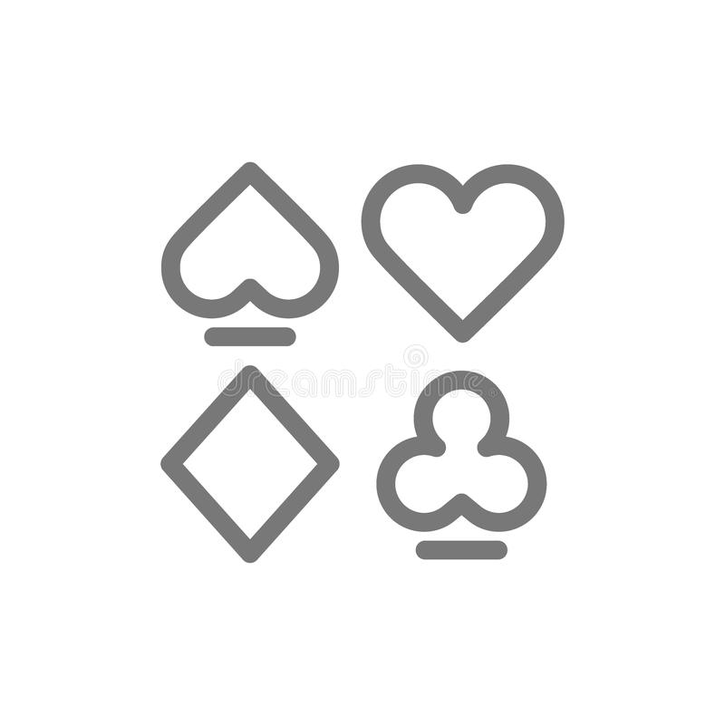 Simple card suits line icon. Symbol and sign vector illustration design. Isolated on white background. Vector symbol or icon design element royalty free illustration