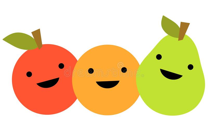 Simple Cartoon Fruit. An illustration featuring an apple, orange and pear with smiling faces lined up in a row stock illustration